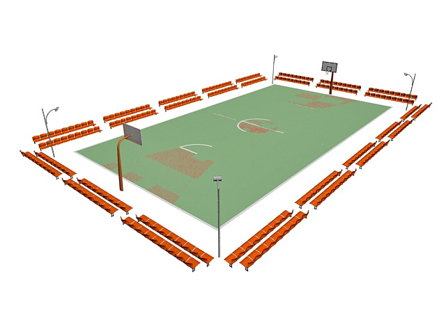 Basketball court arena 3d rendering