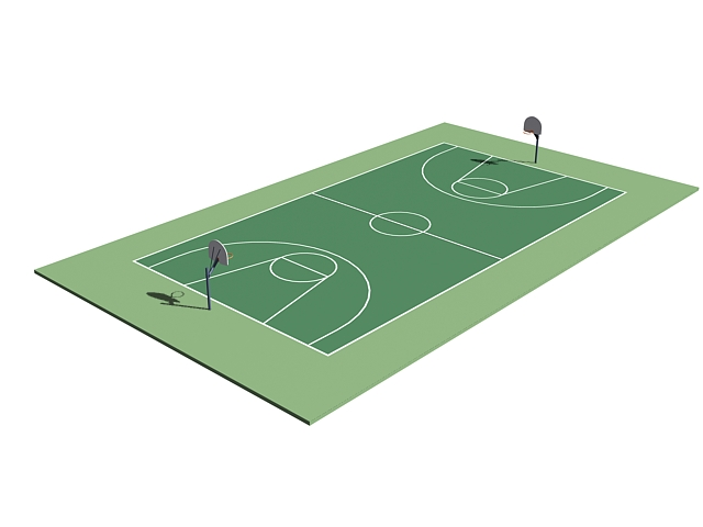 Basketball court 3d rendering
