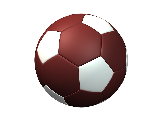 Red and white soccer ball 3d rendering