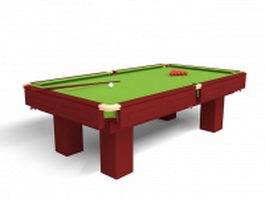 Pool table with balls 3d preview