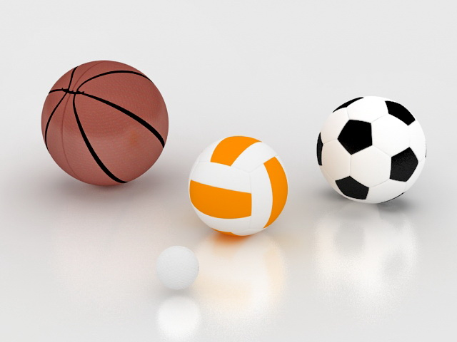Sports ball collection 3d rendering