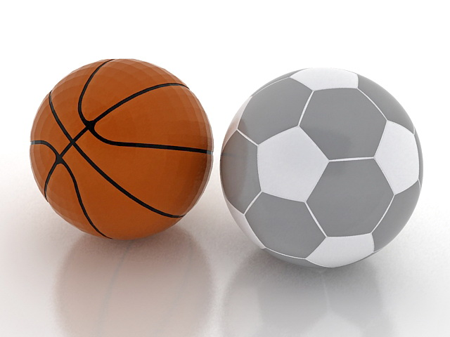 Basketball and soccer ball 3d rendering