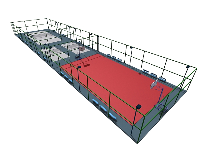 Ball game courts 3d rendering
