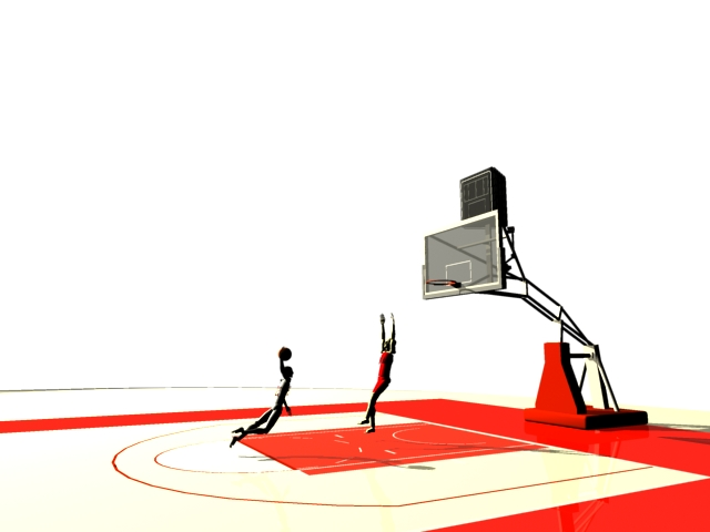 Basketball players playing 3d rendering
