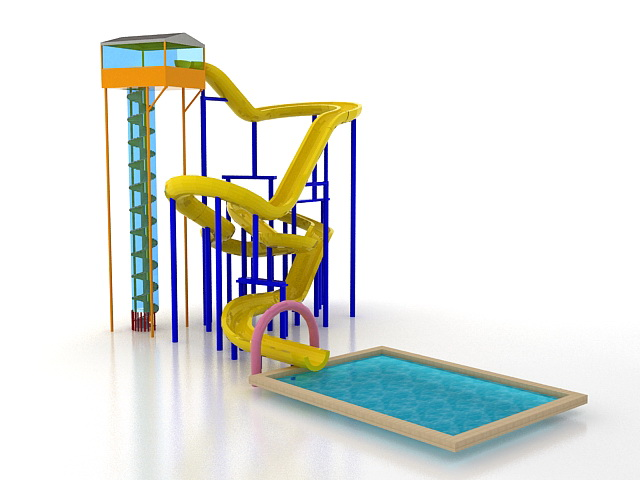 Large spiral water slide structures 3d rendering