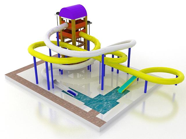 Water park tube slides 3d rendering