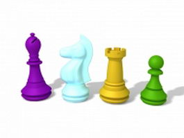 Staunton chess pieces 3d preview