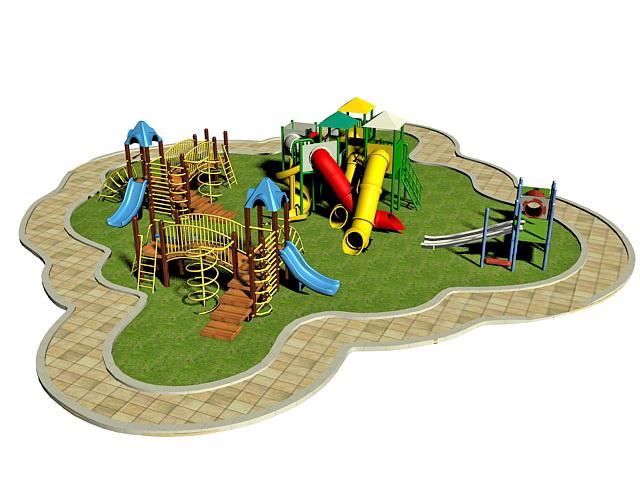 Children park playground 3d rendering