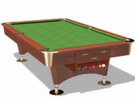 Billiard pool table 3d preview