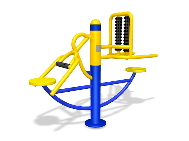 Elderly park exercise equipment 3d rendering