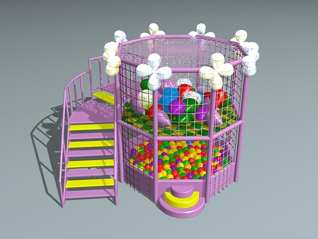 Foam ball pit 3d rendering