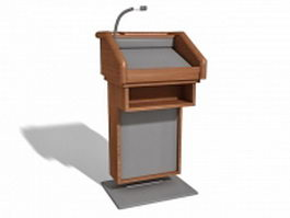 Podium lectern with microphone 3d preview