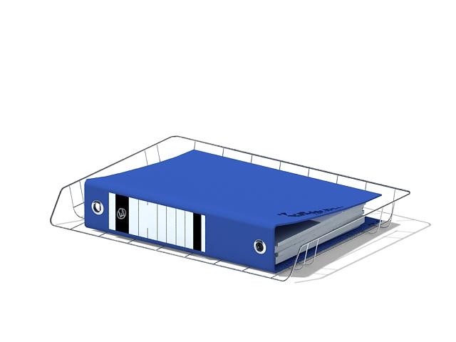 Wire desk tray organizer 3d rendering