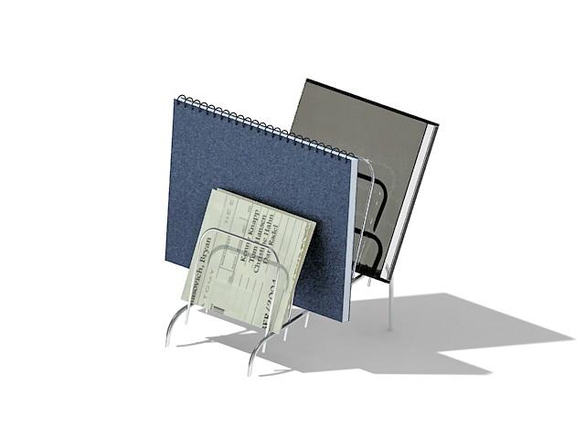 Desktop file organizer wire rack 3d rendering