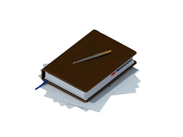Notebook with pen 3d rendering