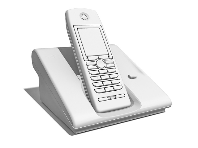 Cordless telephone with base 3d rendering