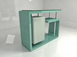 Front office reception desk 3d model preview