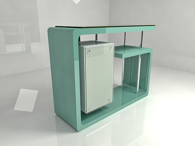 Front office reception desk 3d rendering