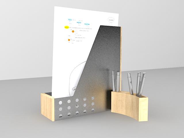 Wood folder holder and pen holder 3d rendering