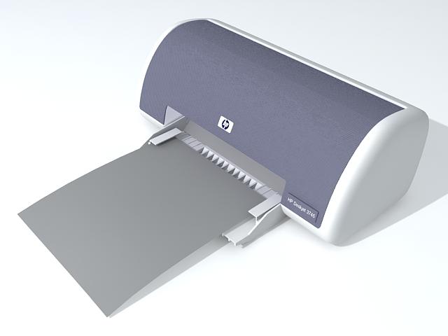 HP laser printer 3d rendering