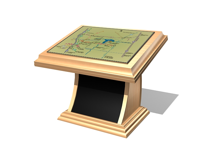 Touch screen information kiosk 3d rendering
