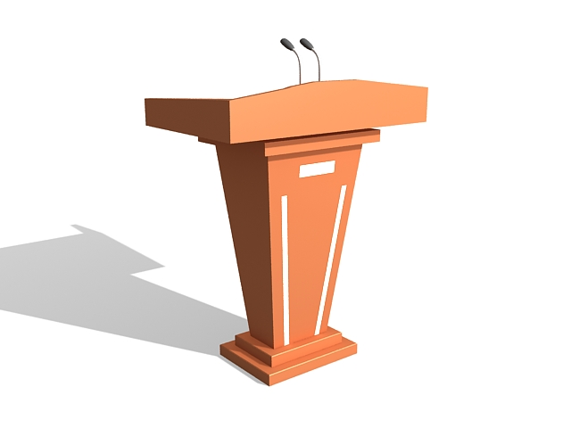 Podium and lectern with sound 3d rendering