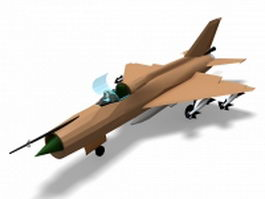 MiG-21 Fishbed fighter aircraft 3d preview
