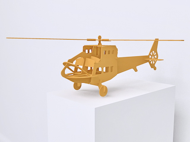 Wooden toy helicopter 3d rendering