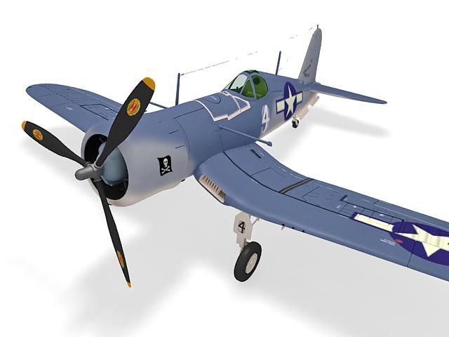 Vought F4U Corsair fighter aircraft 3d rendering