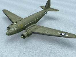 American WW2 transport aircraft 3d model preview