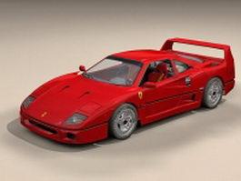 Ferrari F40 sports car 3d model preview