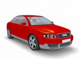 Red sedan car 3d model preview