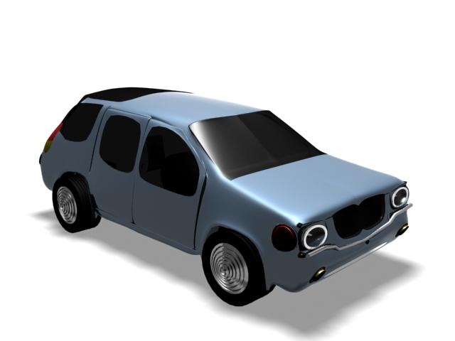 Blue cartoon car 3d rendering