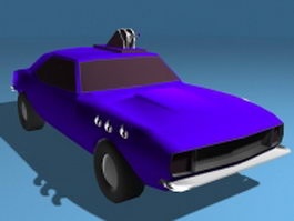 Muscle car with gun 3d model preview