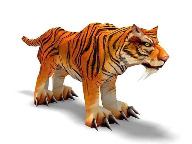Indochinese tiger 3d rendering