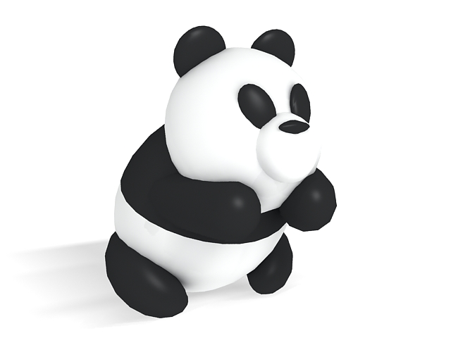 Cute cartoon panda 3d rendering