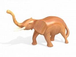 Wooden elephant sculpture 3d preview
