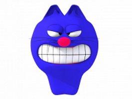 Cartoon blue cat head 3d model preview