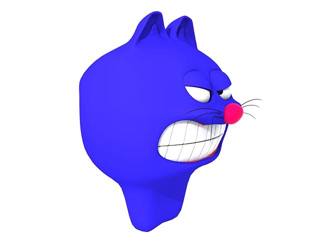 Cartoon blue cat head 3d rendering