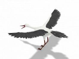 Long-necked crane 3d model preview