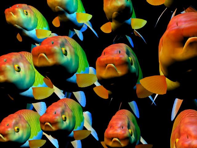 Fancy goldfish school 3d rendering