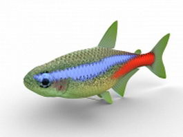 Neon tetra aquarium fish 3d preview