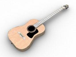 Classical guitar 3d model preview