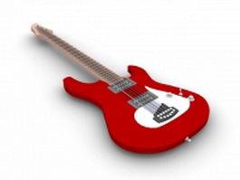 Red bass guitar 3d model preview