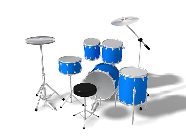 Jazz drum set 3d rendering