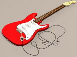 Red electric bass 3d model preview