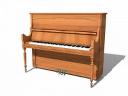 Vintage upright piano 3d preview
