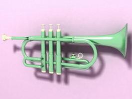 Antique bronze trumpet 3d model preview