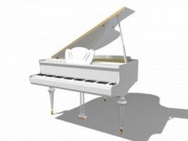 White grand piano 3d model preview