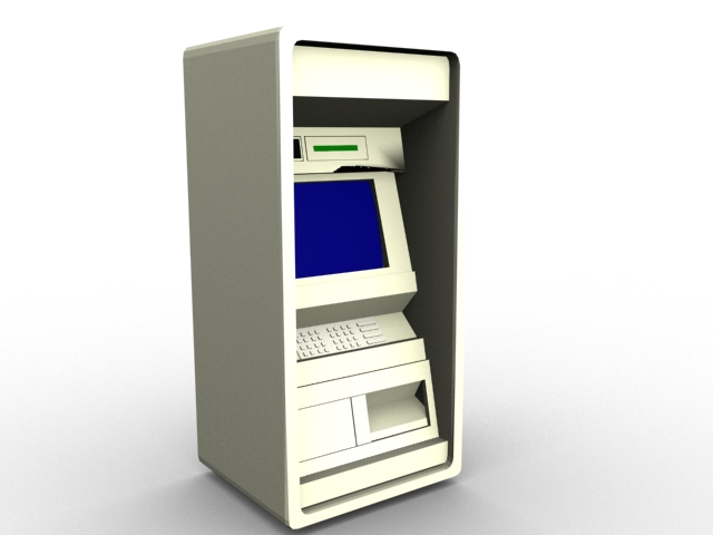 Automated banking machine 3d rendering